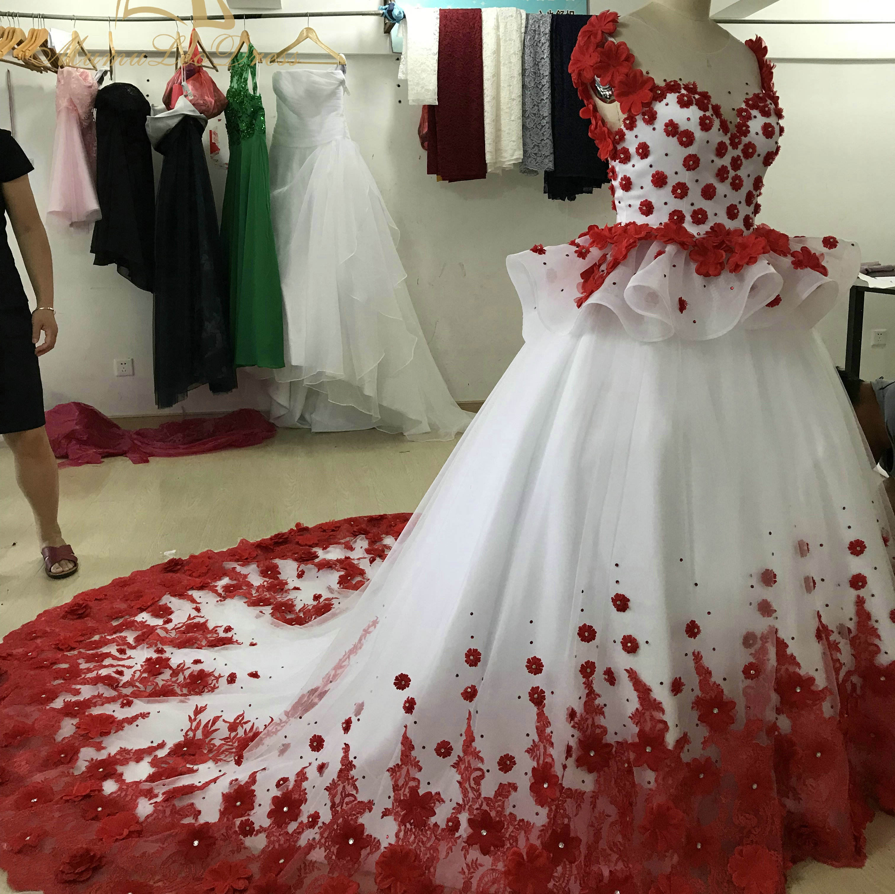 Ball Gown Red Bridal Night Bride Princess Elegant 3D Flower Israel Latest Design Coloured Wedding Dress