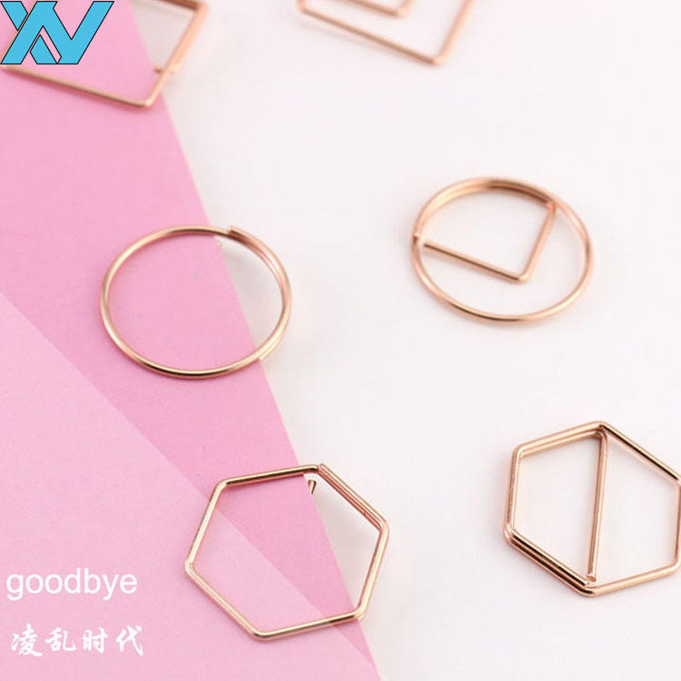 rose gold logo metal hexagon shaped paper clip