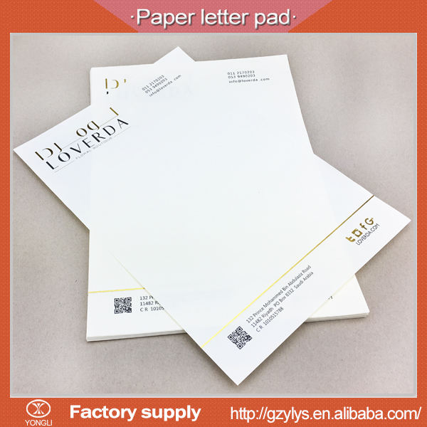 Пользовательские печати A4 A5 бизнес-писать письмо pad with gold foil
