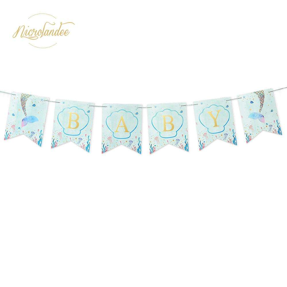 Mermaid Themed BABY Fishtail Flags Garland - Baby Shower Party - Baby Room Decor