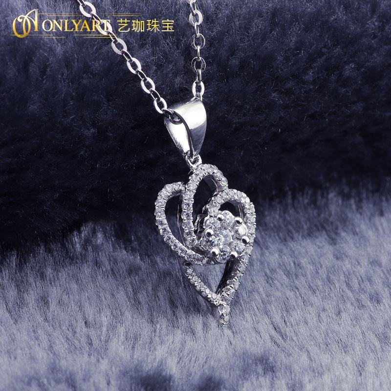 white gold jewelry silver metal heart shaped pendant for men