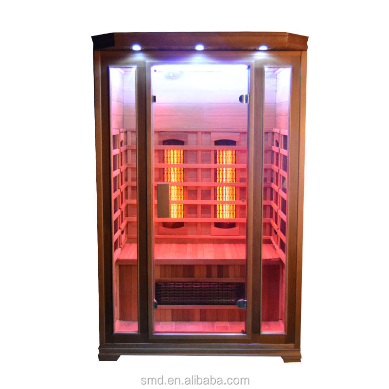 China hemlock wood carbon heater far infrared 2 person commercial IR sauna