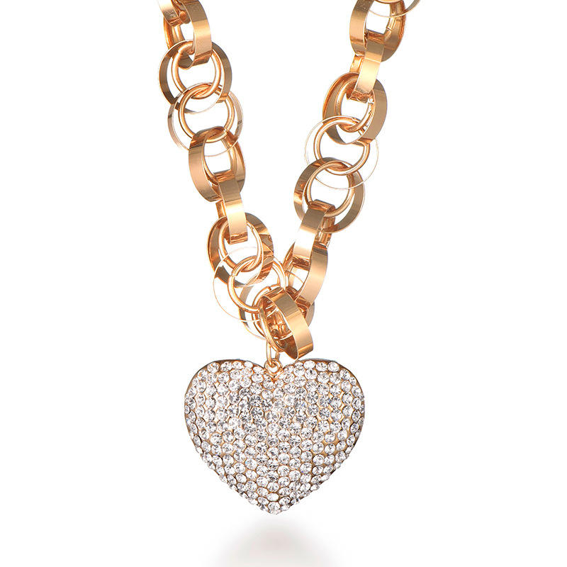 High Quality Heart Shaped Woman Sweater Accessories Chain Party Gift Pendant crystal necklace