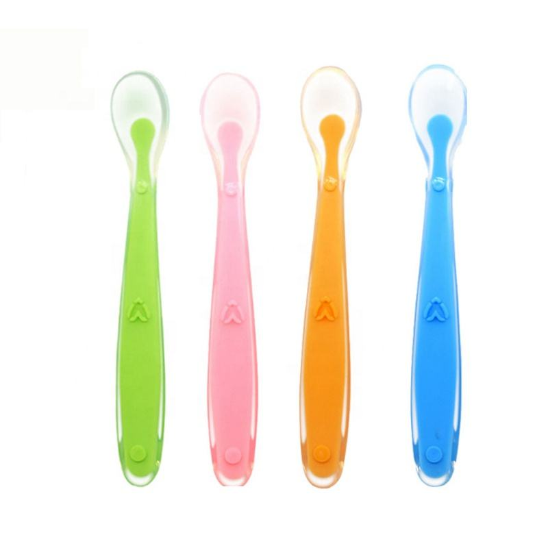 BPA Free Color Changing Babyske Silicone Baby Spoon for Infant Baby Training Baby Feeding Spoon
