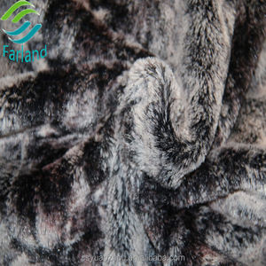 Discharge design brushed crumpled long hair plush fabric for curtain