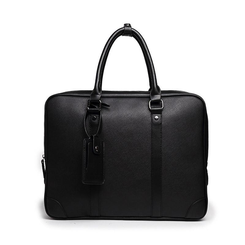 Men Shoulder Bag Cow Leather Black Briefcase Business Trade Job Document Laptop