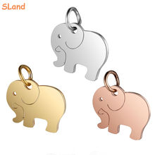 Wholesale Engravable Minimalist Jewelry Silver/Gold/Rose gold 316Lstainless steel flat elephant charm pendant for DIY Necklace