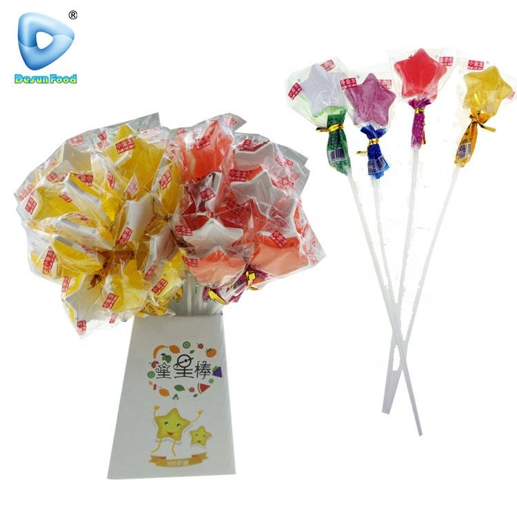 Double heart fruit flavor lengthen long stick lollipop