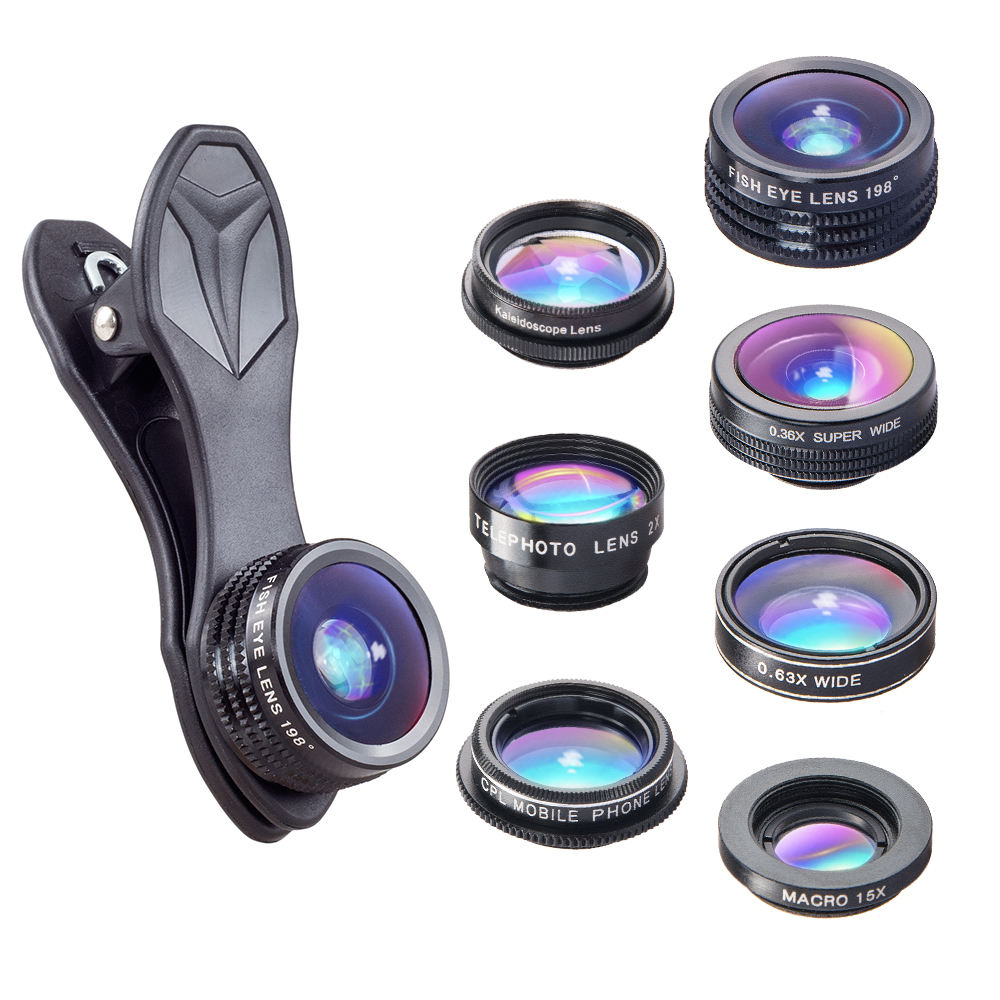 Apexel trending Deluxe cell phone lens 2x zoom 7in1 lens kit camera lenses for mobile phone