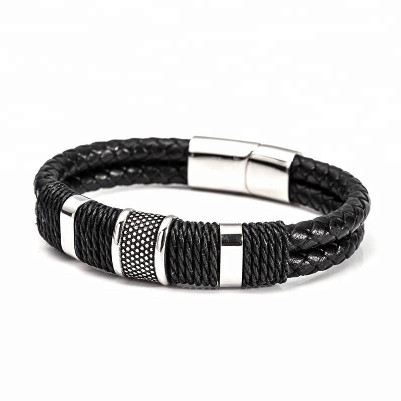 Multi-Row Layered Braid Stainless Steel Magnetic Snap Men's Jewelry Mens Leather Bracelets