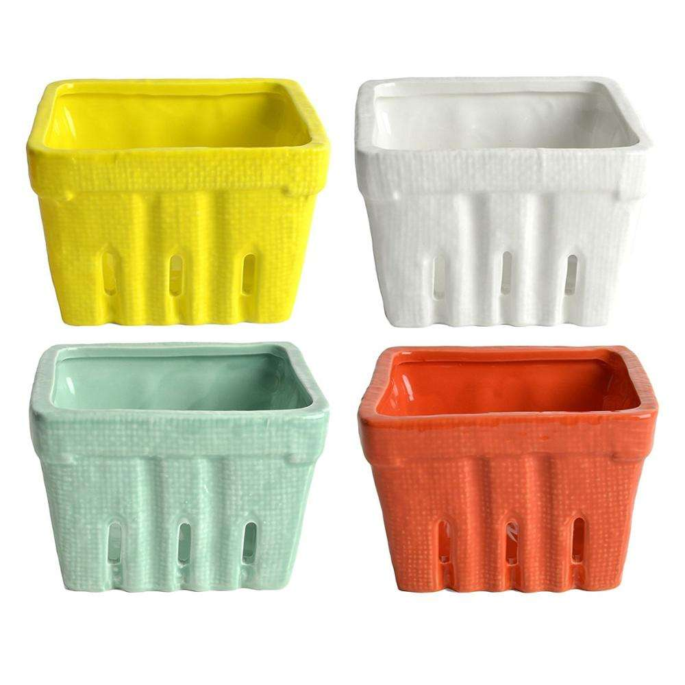 2020 new ceramic fruit storage basket for home Stoneware Berry Baskets Multicolor, Set of 4