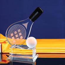Custom Made Metal Badminton Table tennis competition  Crystal Trophy And Award with Base