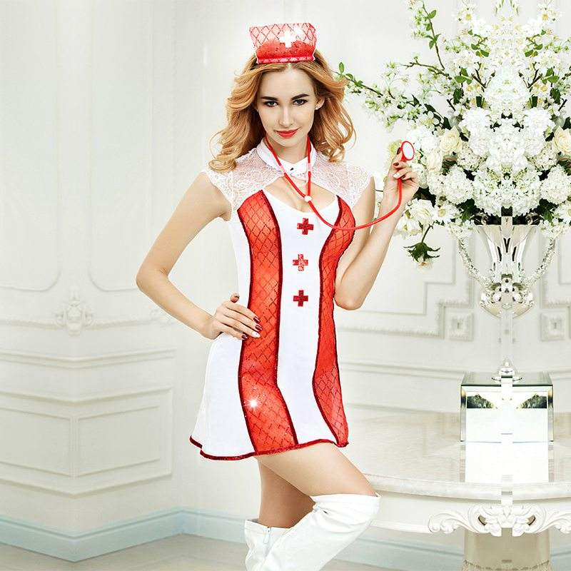 Adult Shop Wholesale Sexy Nurse Dress with sequin Women Erotic Nurse costume For role play games
