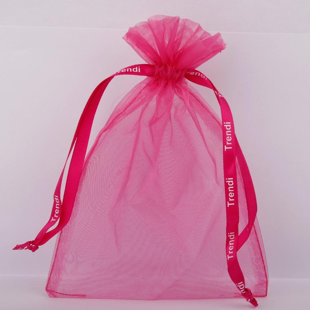 Wedding Favor Organza Pouch Logo Promotional Organza Gift Bag White Printed Large Drawstring Custom Organza Bag Wholesale