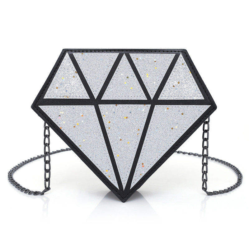 Creative Fashion Diamond Style Magic Bag Creative PU Shining Long Chain Shoulder Bag