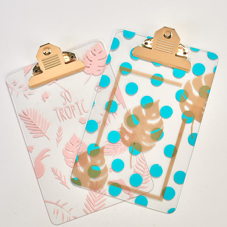 Hot sale clear plastic clipboard with leaf pattern