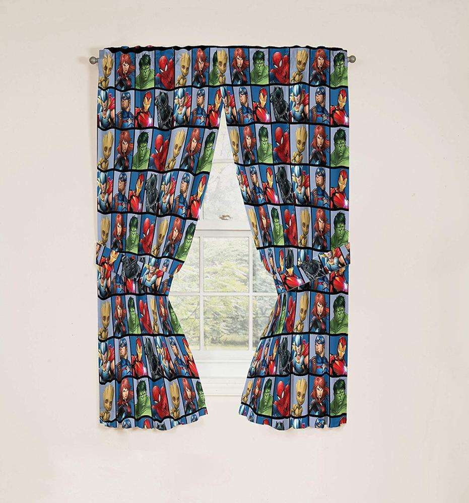 Marvel Avengers Team Beautiful Room Decor Easy Set up Window Curtains