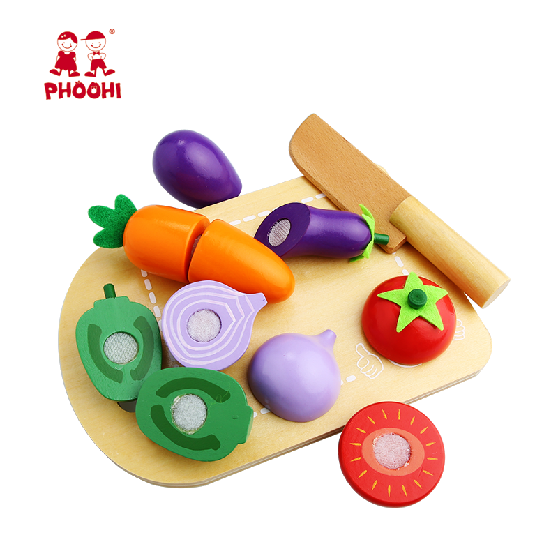 Pretend Play Food Simulation Kitchen Accessories Wooden Cutting Vegetable Toy