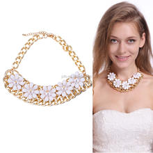Vintage Chain White Pearl Flower Pendant Statement Necklace Chunky Jewelry For Women