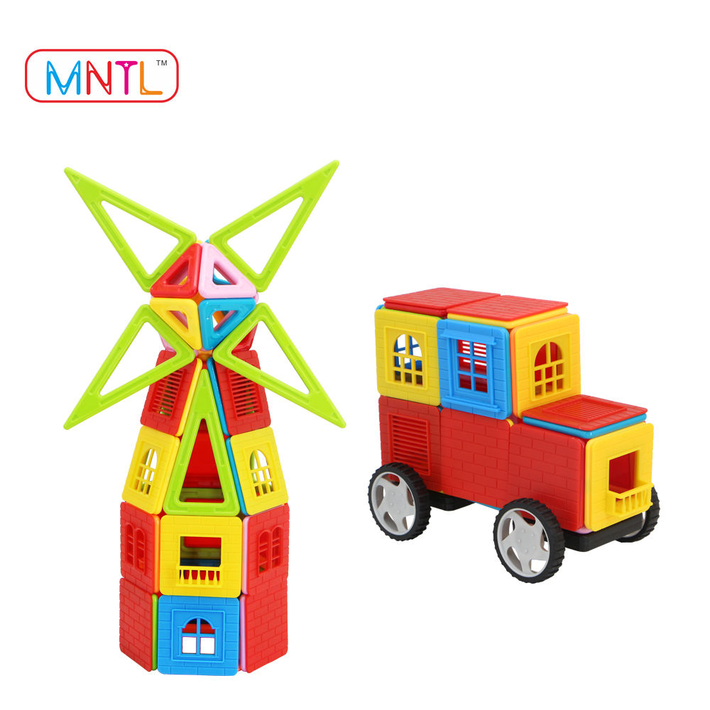 Plastic Type Magnetic Baby Car Veicle Toys Kits DIY Self Assembly Building Block for Kids Connecting Science 3D Puzzle