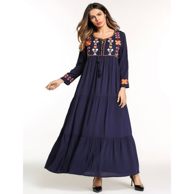 YSMARKET Muslim Dresses Women Middle East Embroidered Ethnic Style Vintage Elegant Large Size Clothing Long Sleeve Maxi Dresses