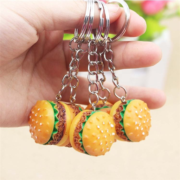 Food Bags Car Key Ring Burger Keychain Accessories Promotional Small Gift