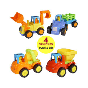 Friction Powered Cars Push and Go (4 Pack), Construction Vehicles Toys for Toddlers Tractor Bulldozer Cement Mixer Dump Truck Ca