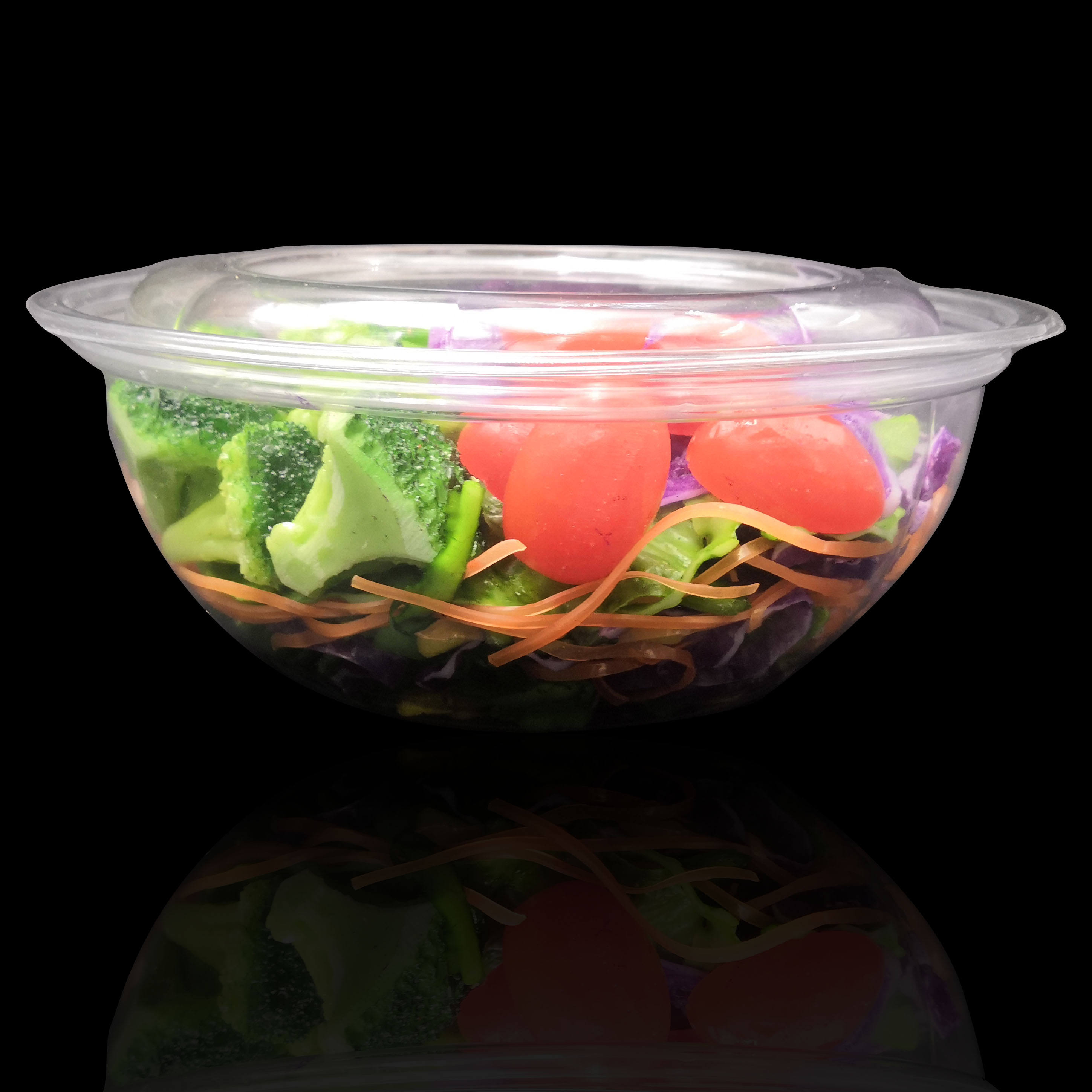 Disposable clear PET material clamshell 48 oz salad bowl