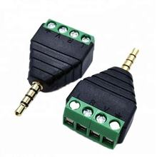 3.5mm 4 core male Stereo plug to Terminal Female Headphone Connector adapter