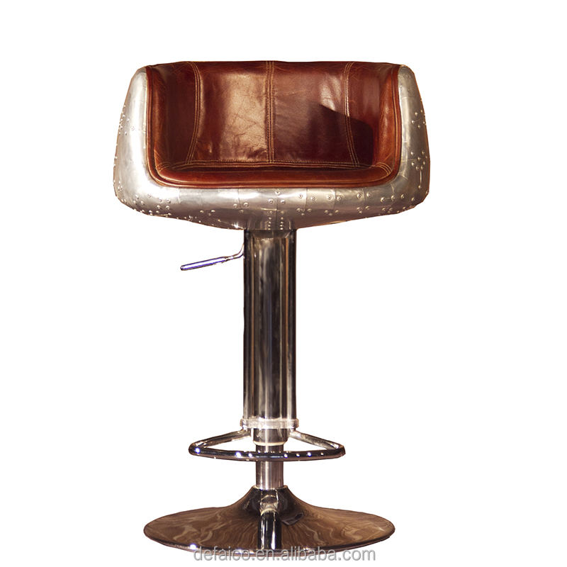 Antique bar furniture modern fabric french style bar stool with back aviation industrial leather