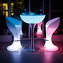 Waterproof modern led furniture plastic high luminous glow light illuminated bar table and chair