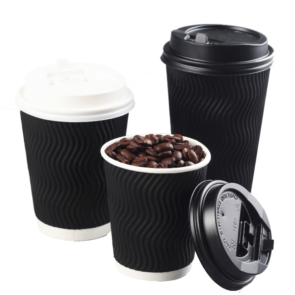 Black Paper Cup Hot Drink Corrugated Ripple Wall Paper Cups for Coffee Milk Tea