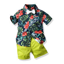 Children Boy Clothing Sets Fashion Summer print short sleeves shirt and shorts Child Suit For Wholesale