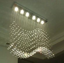 Modern Wave LED Crystal Pendant Light Ceiling Lamp RainDrop Restaurant Chandelier