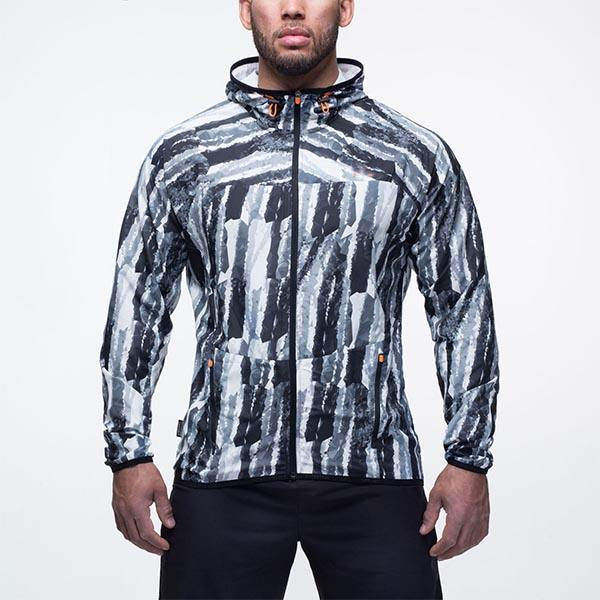 polygon all-over print hooded sports 100% Polyester running gym jackets