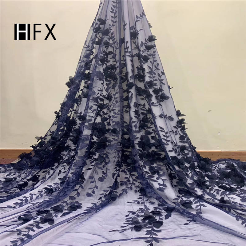 hot selling french 3d flower lace embroidered fabric wholesale royal blue applique for wedding bridal dress