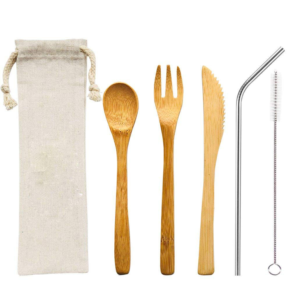 bamboo travel utensil cutlery set,bamboo Cutlery Set metal straws and cleaning brush with travel packing