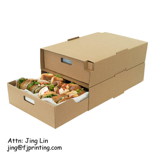 Hot sale pile up box for catering custom logo printing corrugated paper food packaging display box