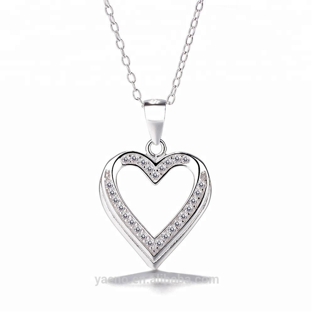 Discount Hot Sale Meilong Jewelry Factory Heart Pendant Necklace 925 Sterling Silver