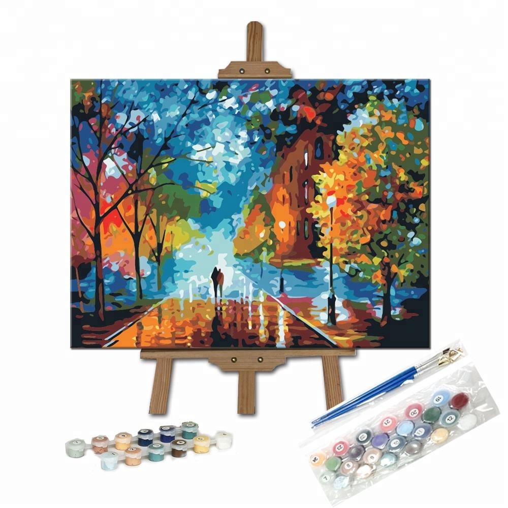 Custom Beatuiful Art Design Kits Street Scenery Impressionism DIY Children Paint by Numbers