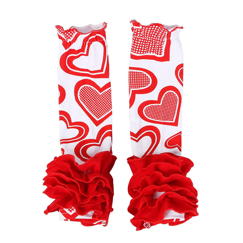 bulk wholesale cheap children boutique clothing baby girls ruffled bottom heart print leg warmers for valentines day