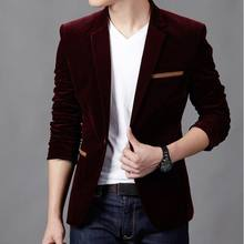 Spring Clothes Men Fashion Tops Slim Fit Blazer Casual Solid Color Male Suits Corduroy Single Button Unique Long Sleeve Jackets