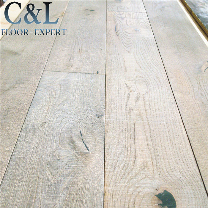 Distressed wood grain white washed oak engineered wood flooring