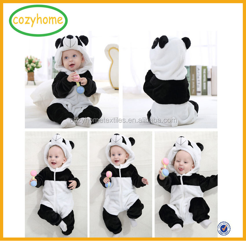 Amazon Hot Sale Cute Animal Shape Design Babe Unisex-baby Winter Flannel Romper Panda Onesie Outfits Suit