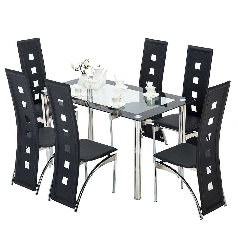 free sample and Best reviews stainless steel dining set creative restaurant group 6/8/10/12 seater glass dining table set