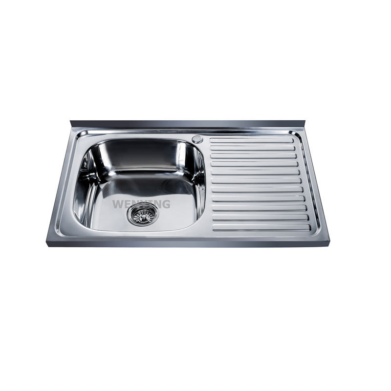 Best Selling Layon or Insert Edge Pressed Kitchen Sinks Single Bowl with Drainboard Sink prices Cheap Without clips 8050SA