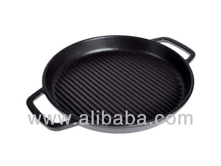 Round Cast Iron Grill Pan With 2