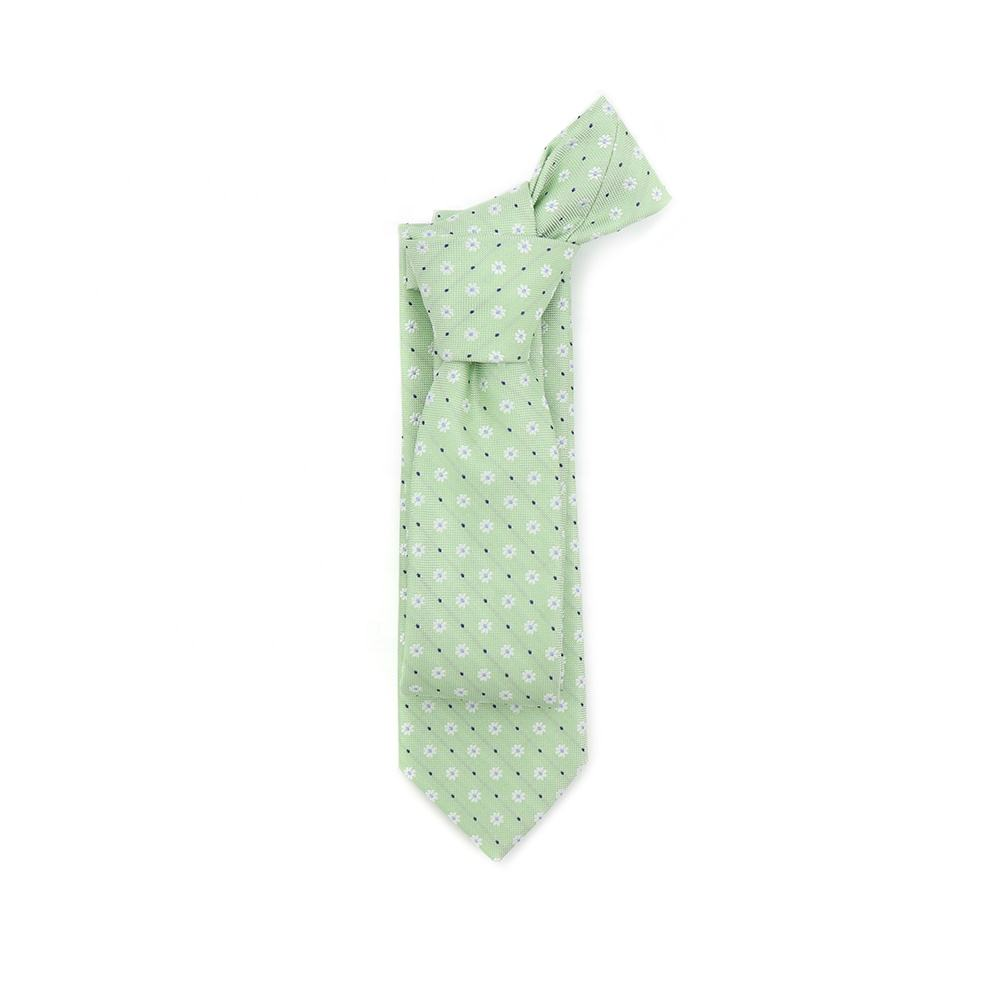 Italian Mens Beautiful Daisy Patterns Ties Fair Green Gentleman Blend Polyester Flower Silk Tie