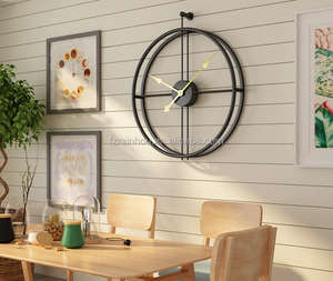 23inch RAINHOU Amazon hot sell round metal BLACK art home decorative quartz wall mounted clock