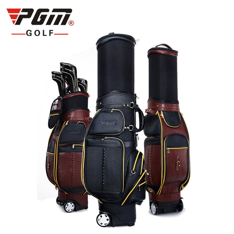 PGM Retractable Genuine Leather Golf Bag With Wheel